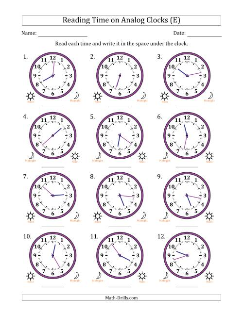 The Reading Time on 12 Hour Analog Clocks in 1 Minute Intervals (E) Math Worksheet