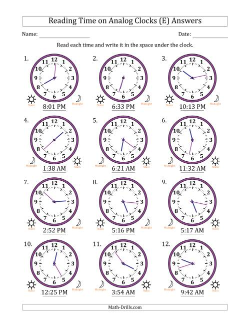 The Reading Time on 12 Hour Analog Clocks in 1 Minute Intervals (E) Math Worksheet Page 2