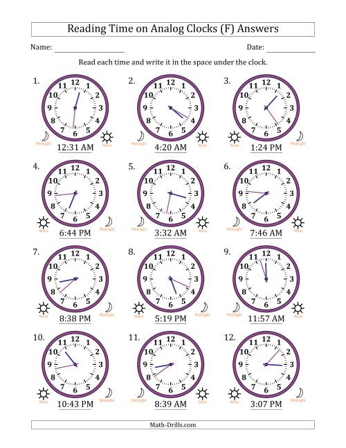 The Reading Time on 12 Hour Analog Clocks in 1 Minute Intervals (F) Math Worksheet Page 2
