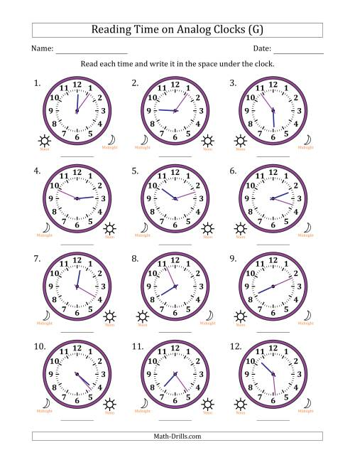 The Reading 12 Hour Time on Analog Clocks in 1 Minute Intervals (12 Clocks) (G) Math Worksheet