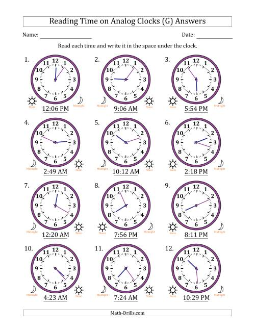 The Reading 12 Hour Time on Analog Clocks in 1 Minute Intervals (12 Clocks) (G) Math Worksheet Page 2