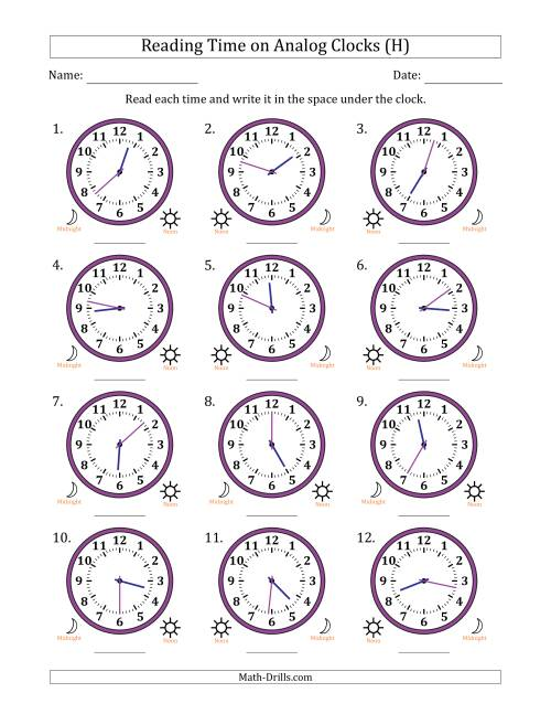 The Reading 12 Hour Time on Analog Clocks in 1 Minute Intervals (12 Clocks) (H) Math Worksheet