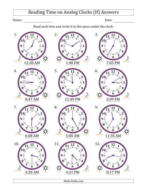 The Reading 12 Hour Time on Analog Clocks in 1 Minute Intervals (12 Clocks) (H) Math Worksheet Page 2