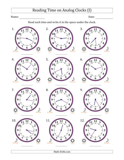 The Reading Time on 12 Hour Analog Clocks in 1 Minute Intervals (I) Math Worksheet