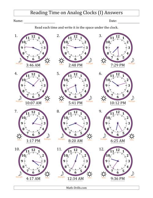 The Reading Time on 12 Hour Analog Clocks in 1 Minute Intervals (I) Math Worksheet Page 2