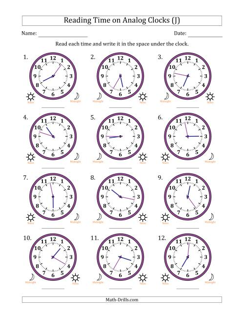 The Reading Time on 12 Hour Analog Clocks in 1 Minute Intervals (J) Math Worksheet