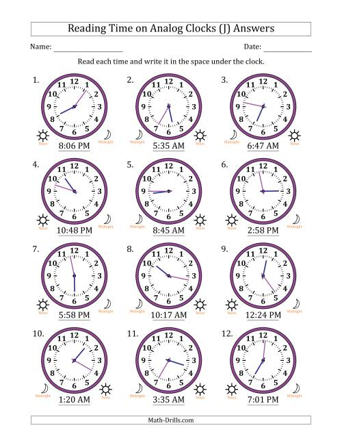 The Reading Time on 12 Hour Analog Clocks in 1 Minute Intervals (J) Math Worksheet Page 2