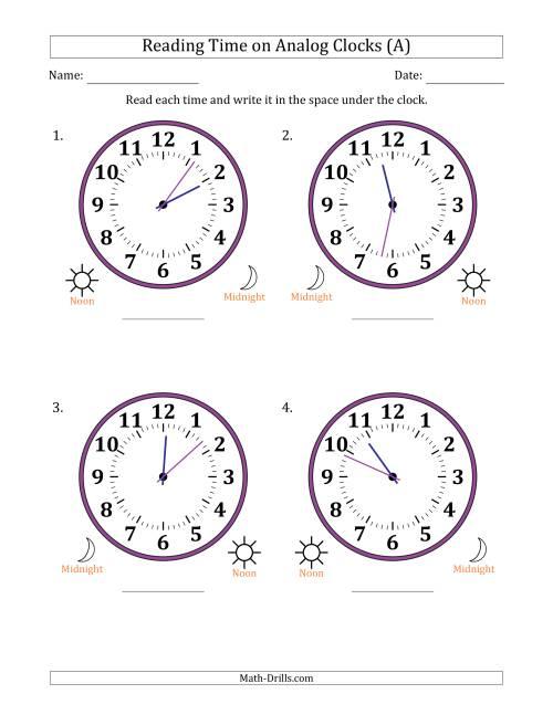 reading time on 12 hour analog clocks in 1 minute intervals large clocks a time worksheet. Black Bedroom Furniture Sets. Home Design Ideas
