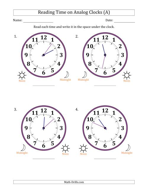The Reading 12 Hour Time on Analog Clocks in 1 Minute Intervals (4 Large Clocks) (A) Math Worksheet