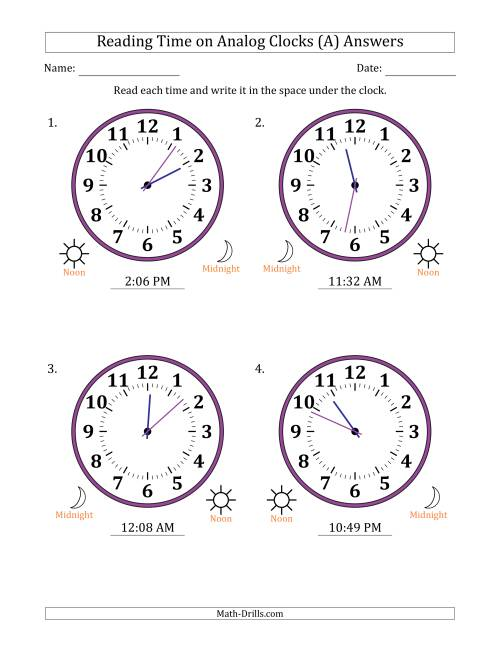 The Reading 12 Hour Time on Analog Clocks in 1 Minute Intervals (4 Large Clocks) (A) Math Worksheet Page 2