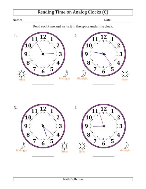 The Reading Time on 12 Hour Analog Clocks in 1 Minute Intervals (Large Clocks) (C) Math Worksheet