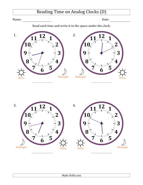 The Reading Time on 12 Hour Analog Clocks in 1 Minute Intervals (Large Clocks) (D) Math Worksheet