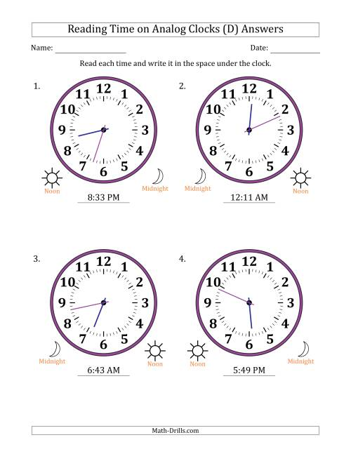 The Reading Time on 12 Hour Analog Clocks in 1 Minute Intervals (Large Clocks) (D) Math Worksheet Page 2
