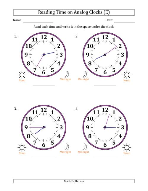 The Reading Time on 12 Hour Analog Clocks in 1 Minute Intervals (Large Clocks) (E) Math Worksheet