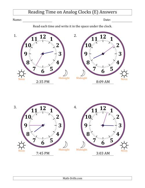 The Reading Time on 12 Hour Analog Clocks in 1 Minute Intervals (Large Clocks) (E) Math Worksheet Page 2
