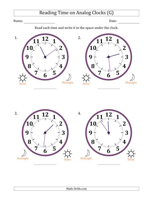 The Reading Time on 12 Hour Analog Clocks in 1 Minute Intervals (Large Clocks) (G) Math Worksheet
