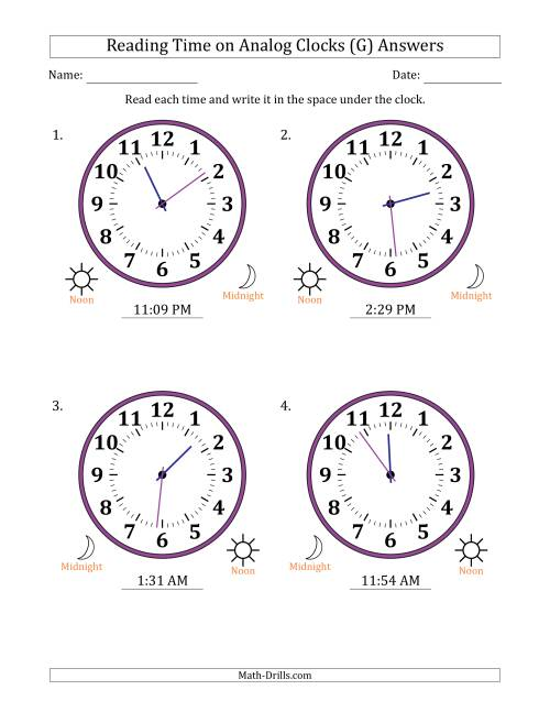 The Reading Time on 12 Hour Analog Clocks in 1 Minute Intervals (Large Clocks) (G) Math Worksheet Page 2