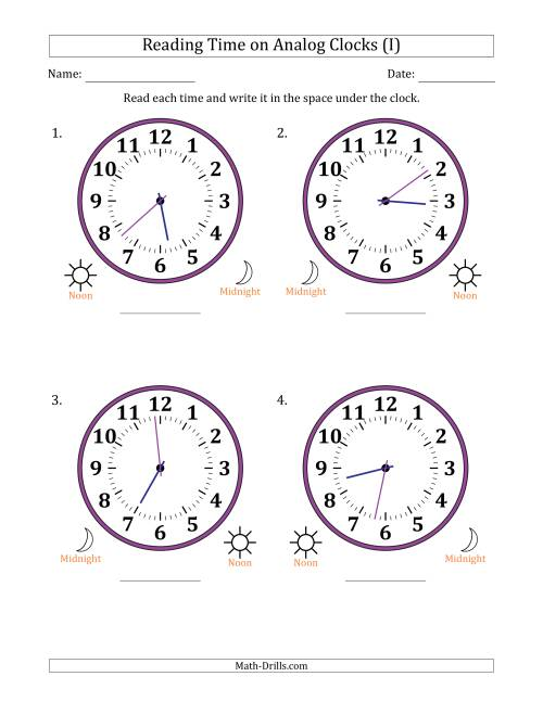 The Reading Time on 12 Hour Analog Clocks in 1 Minute Intervals (Large Clocks) (I) Math Worksheet