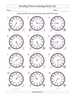 Reading 12 Hour Time on Analog Clocks in 5 Minute Intervals (12 Clocks)