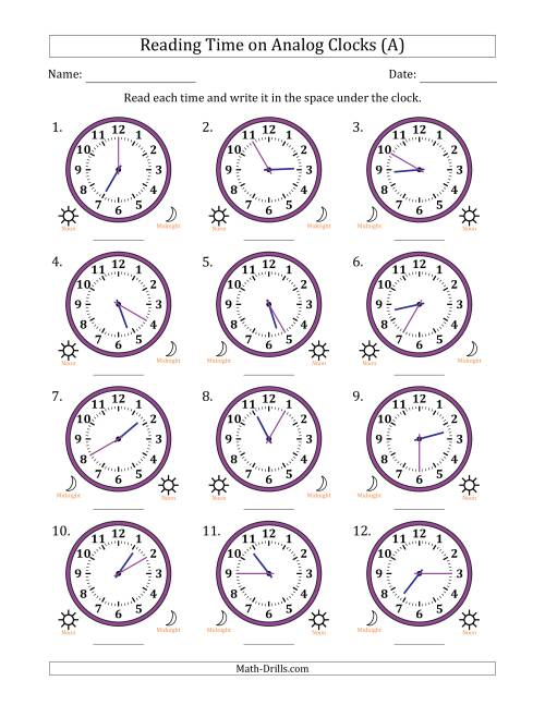 The Reading 12 Hour Time on Analog Clocks in 5 Minute Intervals (12 Clocks) (A) Math Worksheet