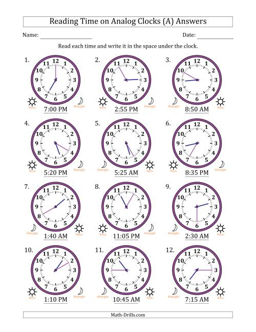 The Reading 12 Hour Time on Analog Clocks in 5 Minute Intervals (12 Clocks) (A) Math Worksheet Page 2