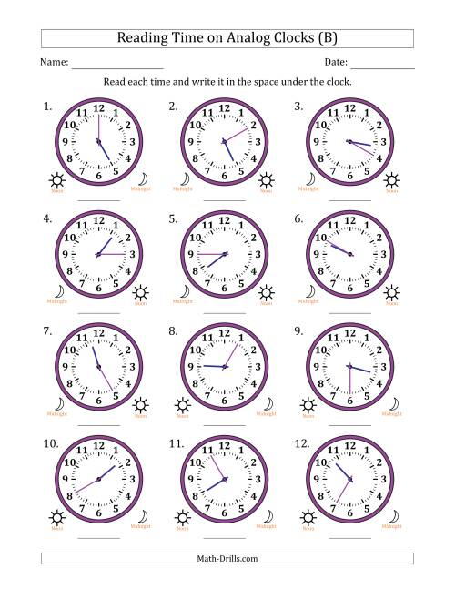The Reading Time on 12 Hour Analog Clocks in 5 Minute Intervals (B) Math Worksheet