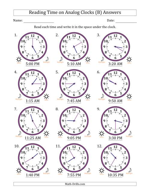 The Reading Time on 12 Hour Analog Clocks in 5 Minute Intervals (B) Math Worksheet Page 2