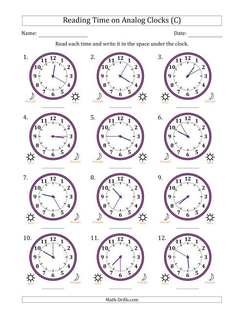 The Reading 12 Hour Time on Analog Clocks in 5 Minute Intervals (12 Clocks) (C) Math Worksheet