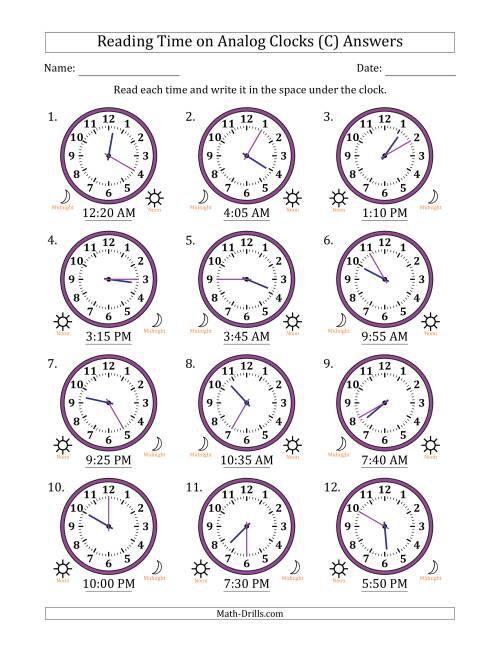 The Reading Time on 12 Hour Analog Clocks in 5 Minute Intervals (C) Math Worksheet Page 2