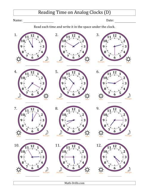 The Reading Time on 12 Hour Analog Clocks in 5 Minute Intervals (D) Math Worksheet