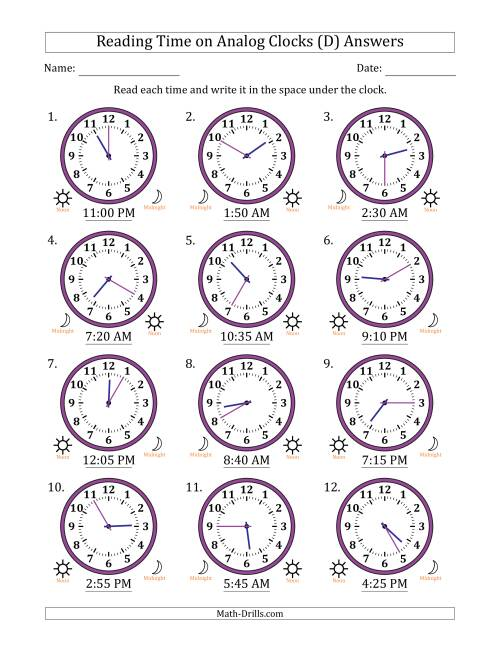 The Reading Time on 12 Hour Analog Clocks in 5 Minute Intervals (D) Math Worksheet Page 2