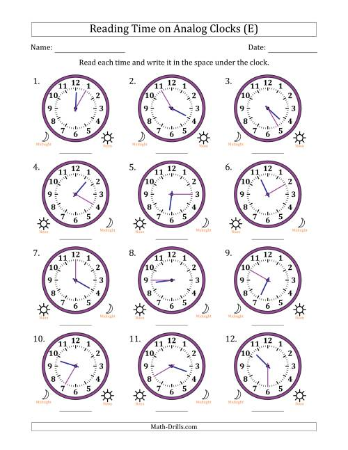 The Reading Time on 12 Hour Analog Clocks in 5 Minute Intervals (E) Math Worksheet