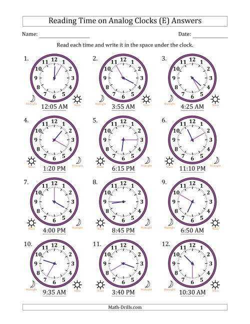 The Reading Time on 12 Hour Analog Clocks in 5 Minute Intervals (E) Math Worksheet Page 2