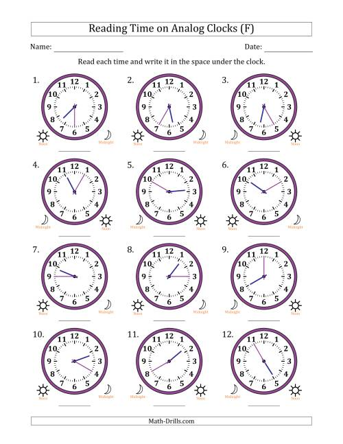 The Reading Time on 12 Hour Analog Clocks in 5 Minute Intervals (F) Math Worksheet
