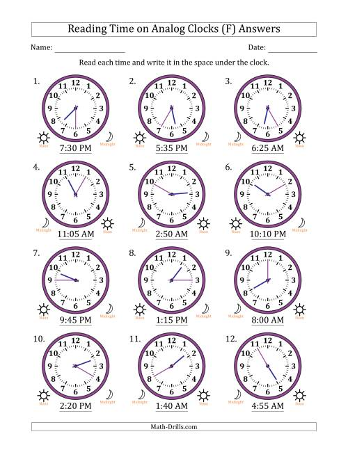 The Reading Time on 12 Hour Analog Clocks in 5 Minute Intervals (F) Math Worksheet Page 2