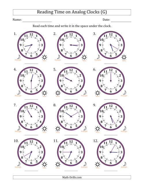 The Reading 12 Hour Time on Analog Clocks in 5 Minute Intervals (12 Clocks) (G) Math Worksheet