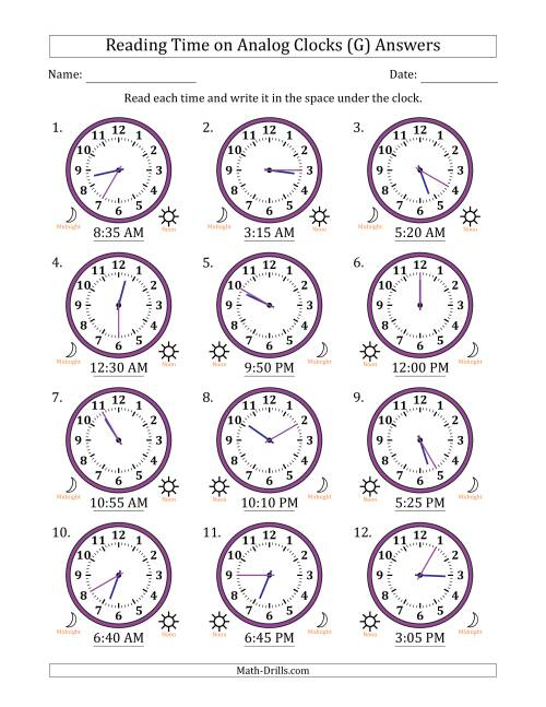 The Reading Time on 12 Hour Analog Clocks in 5 Minute Intervals (G) Math Worksheet Page 2