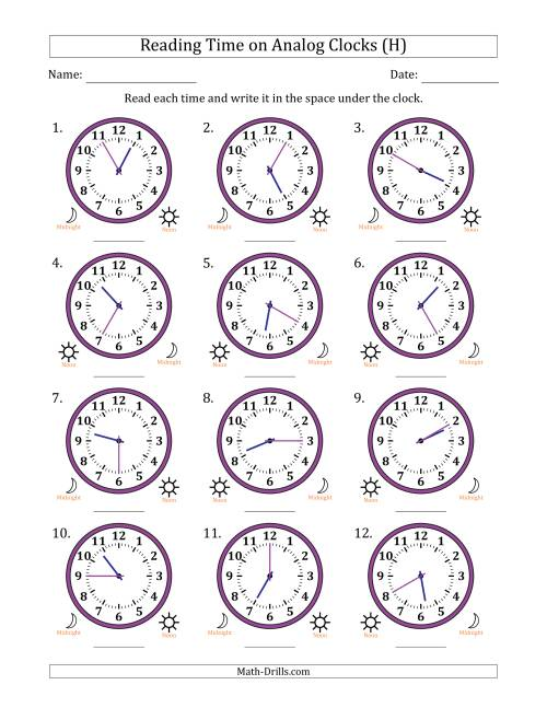 The Reading 12 Hour Time on Analog Clocks in 5 Minute Intervals (12 Clocks) (H) Math Worksheet