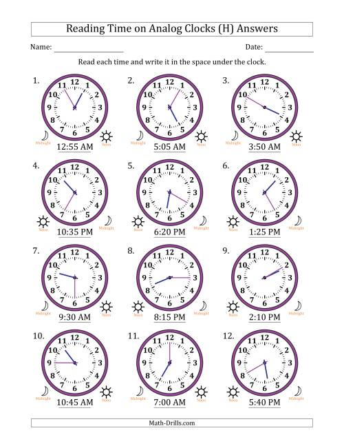 The Reading Time on 12 Hour Analog Clocks in 5 Minute Intervals (H) Math Worksheet Page 2