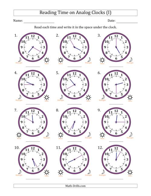 The Reading Time on 12 Hour Analog Clocks in 5 Minute Intervals (I) Math Worksheet