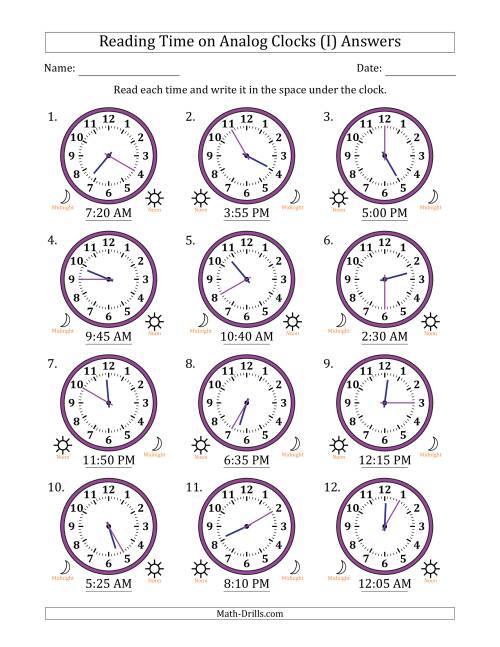 The Reading Time on 12 Hour Analog Clocks in 5 Minute Intervals (I) Math Worksheet Page 2