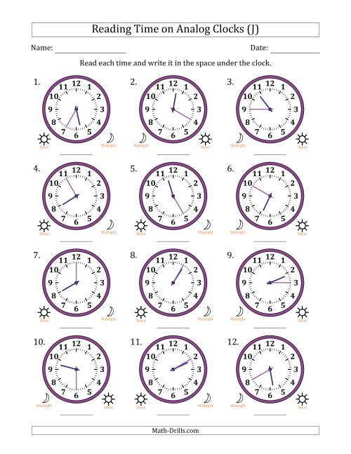 The Reading Time on 12 Hour Analog Clocks in 5 Minute Intervals (J) Math Worksheet