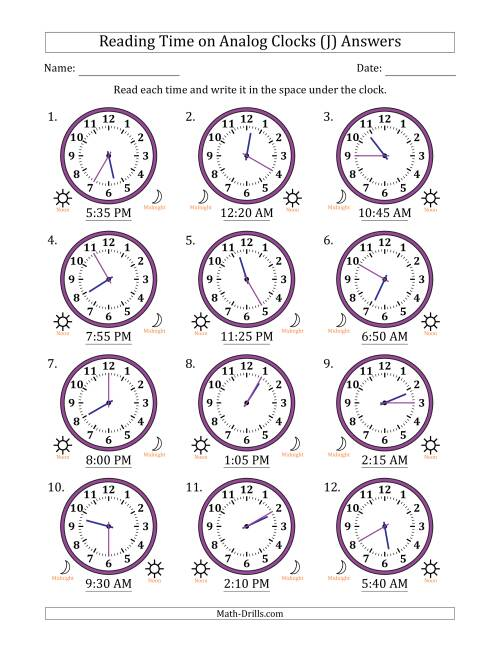 The Reading Time on 12 Hour Analog Clocks in 5 Minute Intervals (J) Math Worksheet Page 2
