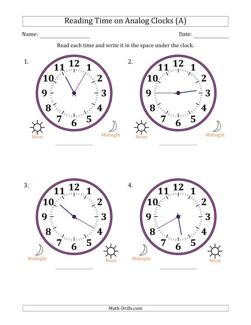 The Reading 12 Hour Time on Analog Clocks in 5 Minute Intervals (4 Large Clocks) (A) Math Worksheet