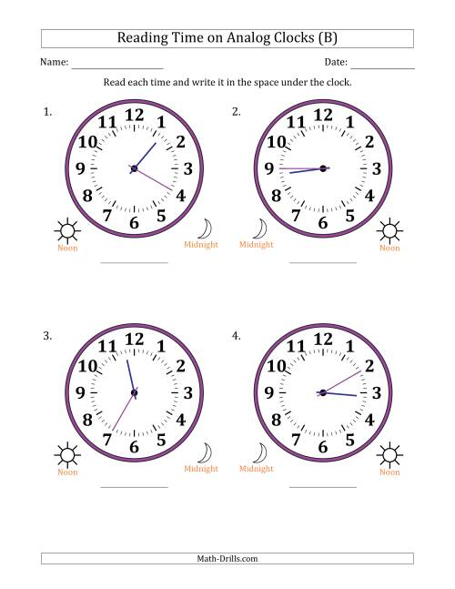 The Reading Time on 12 Hour Analog Clocks in 5 Minute Intervals (Large Clocks) (B) Math Worksheet