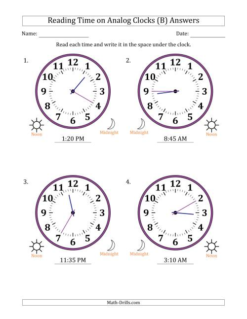 The Reading Time on 12 Hour Analog Clocks in 5 Minute Intervals (Large Clocks) (B) Math Worksheet Page 2