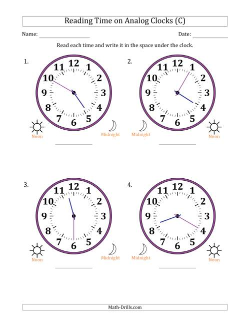 The Reading Time on 12 Hour Analog Clocks in 5 Minute Intervals (Large Clocks) (C) Math Worksheet