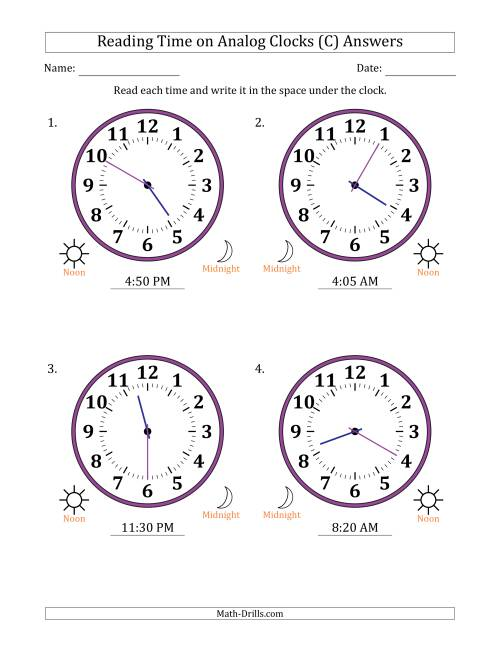 The Reading Time on 12 Hour Analog Clocks in 5 Minute Intervals (Large Clocks) (C) Math Worksheet Page 2