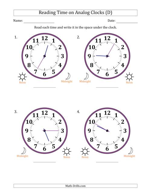 The Reading Time on 12 Hour Analog Clocks in 5 Minute Intervals (Large Clocks) (D) Math Worksheet
