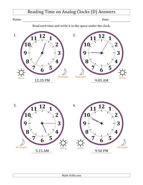 The Reading Time on 12 Hour Analog Clocks in 5 Minute Intervals (Large Clocks) (D) Math Worksheet Page 2
